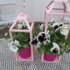 Recycled Lanterns As Planters - planted pots on garden table