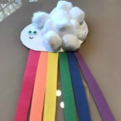 Making a Paper Plate Rainbow  - finished rainbow craft, ready to hang