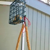 Cereal Treats for Backyard Birds - hanging from a suet feeder