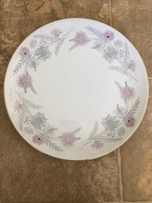 Value of Meito China - pink and gray floral pattern