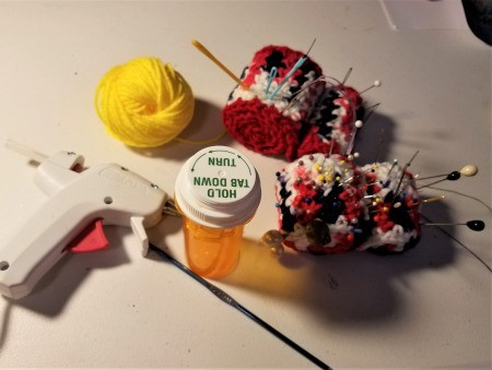 Pill Bottle Sewing Kit - supplies