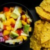 A fresh salsa made with avocados and mangoes.
