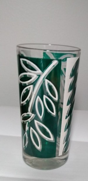 Identifying Drinking Glasses - glass with four rectangular background spaces with a leaf pattern