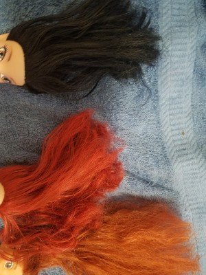 Un-matting a Porcelain Doll's Hair - two dolls with damaged hair