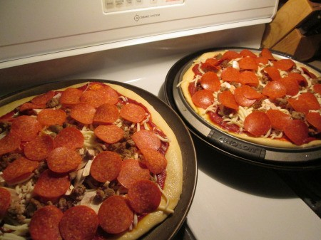 toppings added to pizza