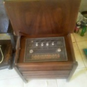 Value of a Vintage End Table with Radio and Turntable - table top opened