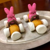 Peeps Racers - two race car bunnies