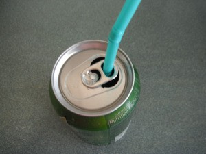Using a Straw in a Soda Can - insert straw