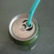 Using a Straw in a Soda Can - insert straw