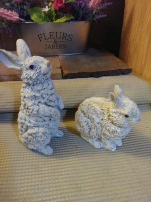 Value of House of Lloyd Easter Bunny Figurines - two ruffled fur bunny figurines