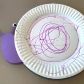 Snail Paper Plate Craft - purple paper plate snail