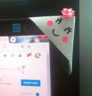 Computer Monitor Corner Decoration - closeup of monitor corner decoration