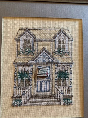 Searching for Old Cross Stitch -Pattern - two story house with dormer windows and hanging ferns on porch