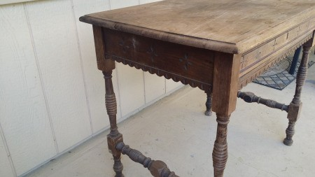 A vintage wooden table.