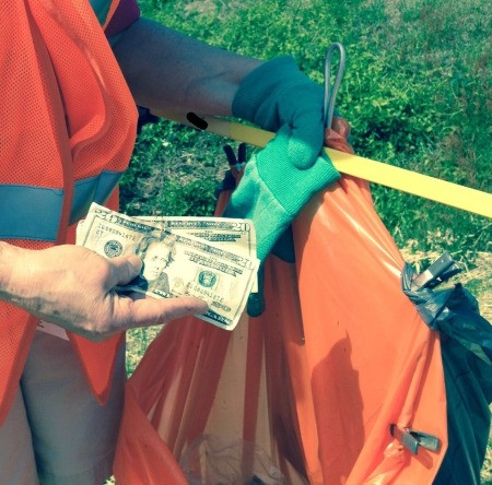 It's Roadside Litter Cleaning Time - cash found while collecting litter