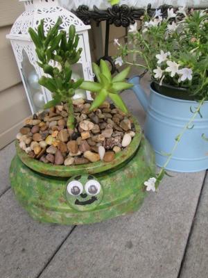 Terra Cotta Turtle Planter - planter sitting on a deck