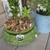 Terra Cotta Turtle Planter - planter sitting on a deck
