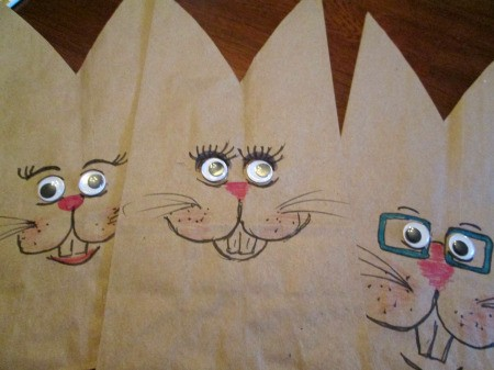 Making Bunny Bag Favors - draw on the faces