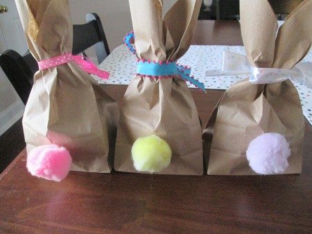 Making Bunny Bag Favors - view of the bunnies from the rear