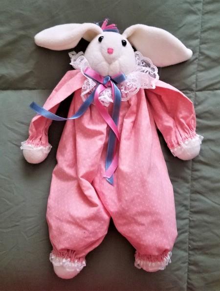 Bunny Wreath - thriftstore bunny