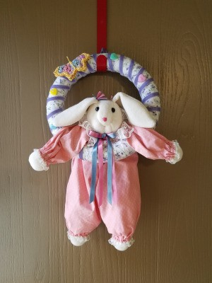 Spring Colored Bunny Wreath - bunny hanging in wreath