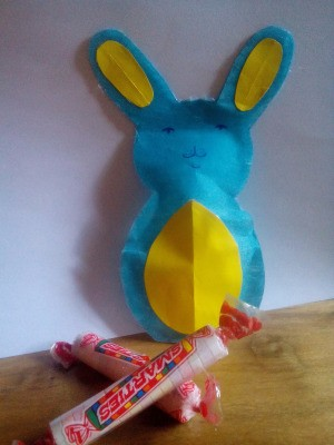Easter Bunny Resealable Candy Pack - finished bunny with two rolls of Smarties