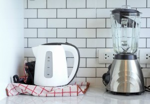 Small kitchen appliances on counter.