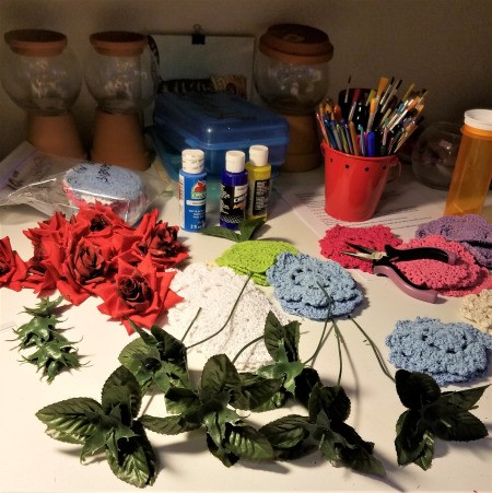 Crocheted Doily Roses - supplies