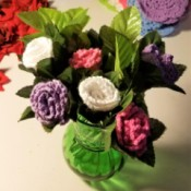 Crocheted Doily Roses - in vase before adding white flowers