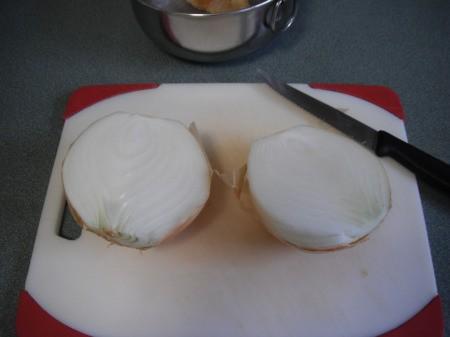 Onion cut in half.