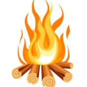 A illustrated rendering of a campfire.