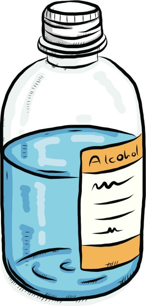 "An illustrated bottle that is marked ""Alcohol""."