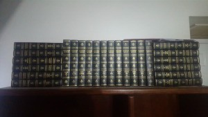 Value of a Set of Encyclopedia Britannica - stacks of volumes on a shelf