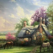 Value of a Thomas Kinkade Print - thatched roof cottage with horses