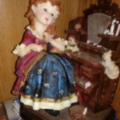 Identifying an Ashley Belle Figurine - woman in period clothing sitting at t makeup table