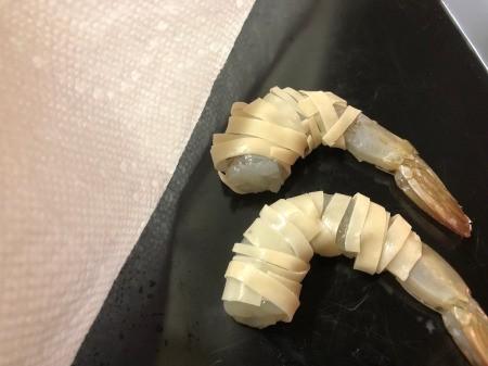 Wonton strips wrapped Shrimp
