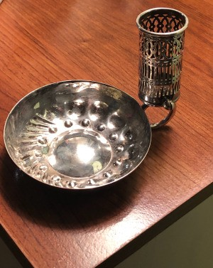 Identifying a Small Silver Dish with an Attached Cylinder - dish