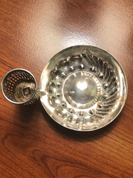 Identifying a Small Silver Dish with an Attached Cylinder