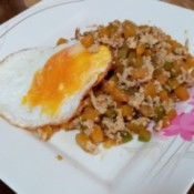 Squash Stir Fry with egg on plate