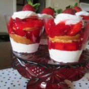 Strawberry Parfaits on pedestal