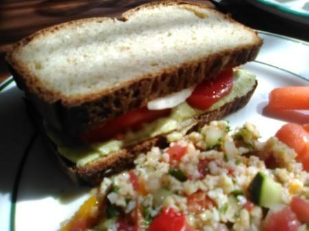 Dr. Seuss Hummus with sandwich & salad