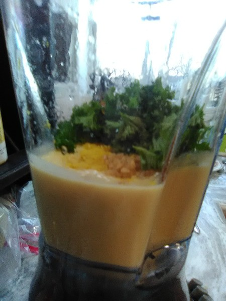 blended chick peas with parsley