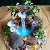 Pearl Water Falls Centerpiece - finished centerpiece on table