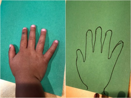 Happy Easter Carrot Card - trace child's hand onto green construction paper