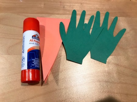 Happy Easter Carrot Card - paper handprints and glue stick