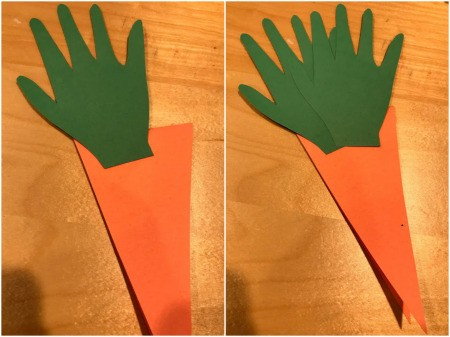 Happy Easter Carrot Card - glue handprints down to the front of the folded paper carrot