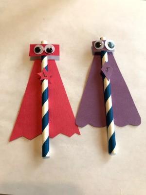 Making Super Hero Straws - two super hero straw toys