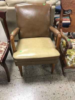 Identifying a Vintage Chair - vinyl or leather upholstered vintage arm chair