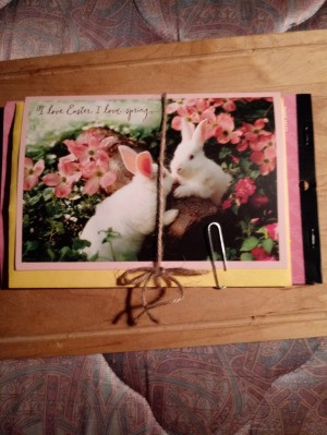 Easter Card Notebook with Stickers - card tied with twine and paper clip also used