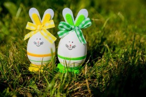 Decorated bunny eggs.